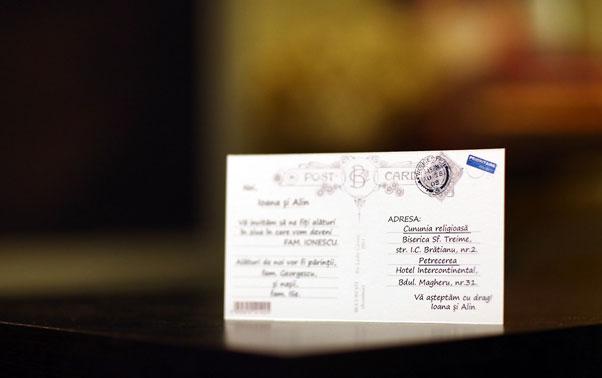 Invitatie de nunta carte postala Lady Cozac Bucuresti